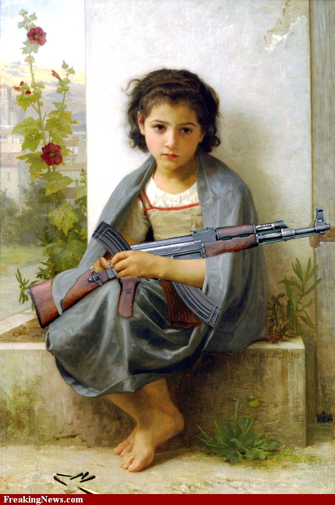 Sad-Girl-with-Gun-Painting–64247 | Yahushua's Cleansing Reign